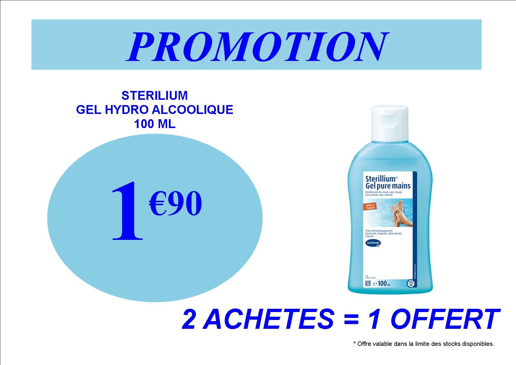 promotion gel hydro alcoolique sterilium 1.90