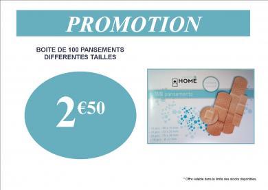 promotion pansements boite de 100 2.50€